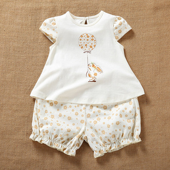 Newborn Baby Girl Summer Organic Cotton Short Sleeve Sets Clothes Infant Baby Casual Printing Shirt Tops+Shorts Outfits Clothing