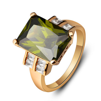 Fashion 14mm Broadside Square Women Ring Trendy Accessories Gold Color Green Stone Rings For Party New 2016 Jewelry