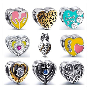 9 Styles 925 Sterling Silver Colourful Heart-Shaped Beads Fit Authentic Pandora Charms Bracelet DIY fine Jewelry gifts for women
