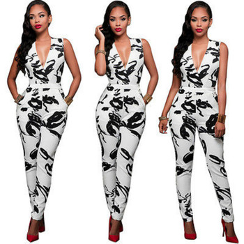 2016 Kadınlar Bayanlar Clubwear V Boyun Jumpersuit Bodycon Parti Tulum Moda Rahat Jumpersuit