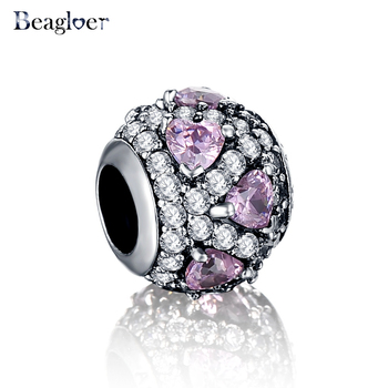 Beagloer 925 Sterling Silver Fancy Heart Pave Ball Charms Fit Handmade Bracelet Fine Accessories Jewelry PSMB0231