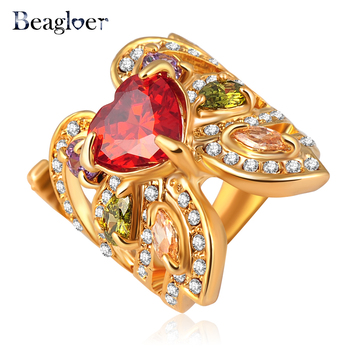 Beagloer Butterfly Flower Ring Unique Design Rings Gold Color With Austrian Crystal Ri-HQ0302